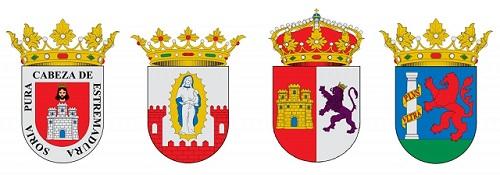 Escudo de Soria, Trujillo, Cáceres y Badajoz