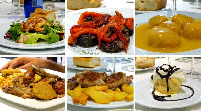Platos elaborados en el menú del domingo en la Posada Real - Destino y Sabor