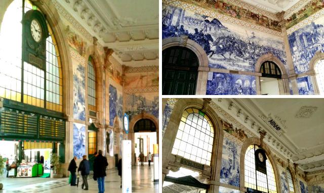 Interior de la estación de ferrocarriles de Oporto Sao Bento - Destino y Sabor