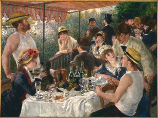 Cuadro impresionista de 'Almuerzo abordo de un barco', por Pierre Auguste Renoir