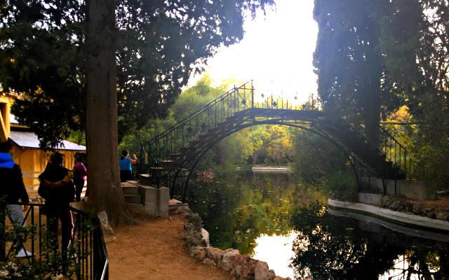 Puente de hierro, en el lago del jardín alto - Destino y Sabor