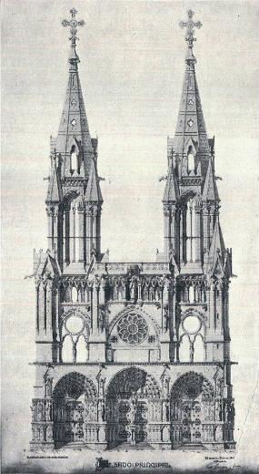 Imagen de cómo estaba diseñada la Catedral neogótica de Cuenca