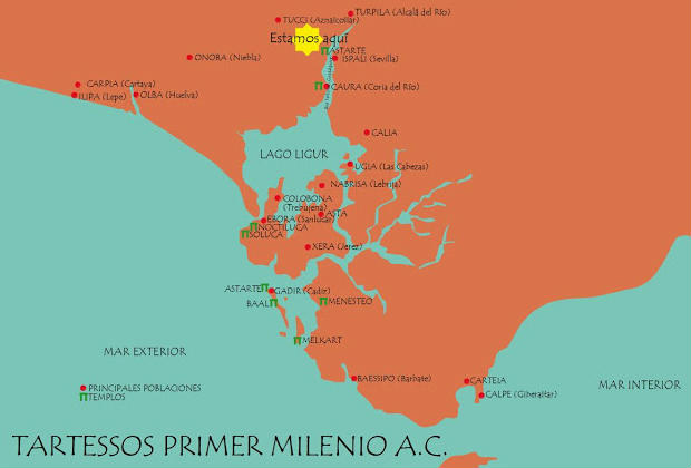 Mapa de Tartessos - Imagen de Dólmenes y Menhires