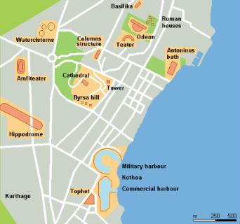 Mapa esquemático del yacimiento de Cartago - Imagen Wikipedia