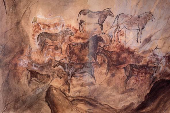 Parte del panel principal de la Cueva de Tito Bustillo - Imagen de la Cueva
