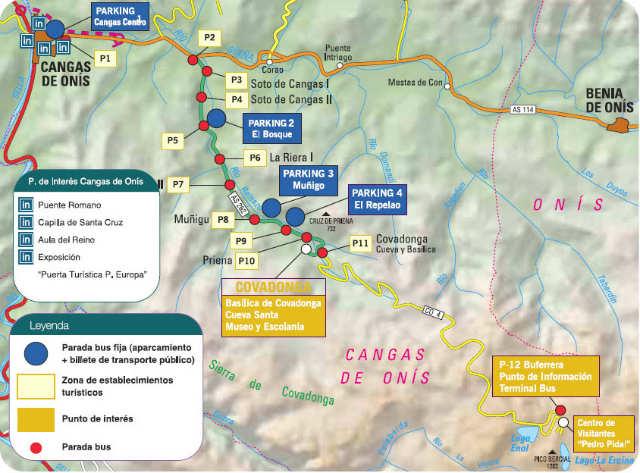 Mapa de parkings disuasorios en la subida a Covadonga - Pincha para ampliar