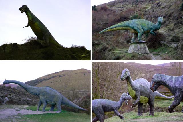 maquetas de dinosaurios junto al Barranco Perdido