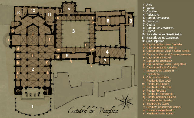 Planta de la Catedral de Pamplona, haz clic para abrir en grande - Imagen de Wikipedia