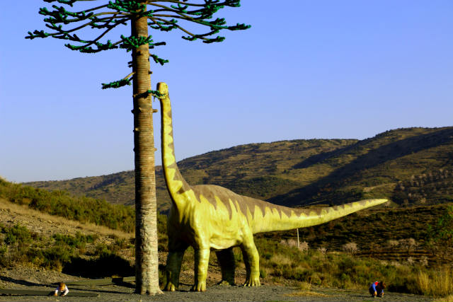 Diplodocus junto al árbol fósil - Destino y Sabor