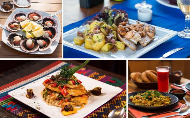 Diferentes platos de la gastronomía chilena - Collage de Destino y Sabor