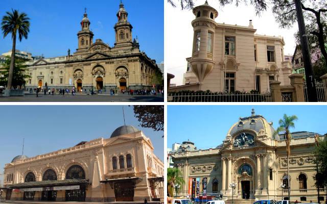 Edificios emblemáticos de Santiago de Chile - Collage de Destino y Sabor