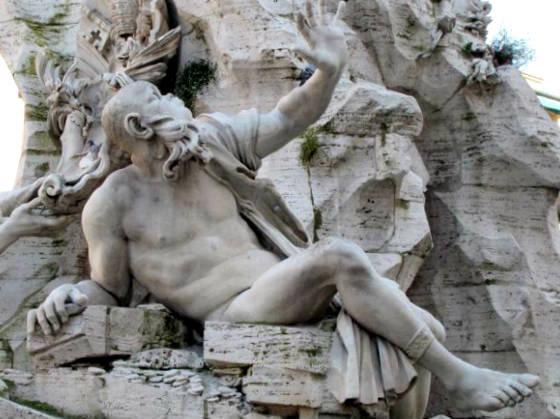Representación del Río de la Plata evitando ver la fachada de Borromini - Destino y Sabor