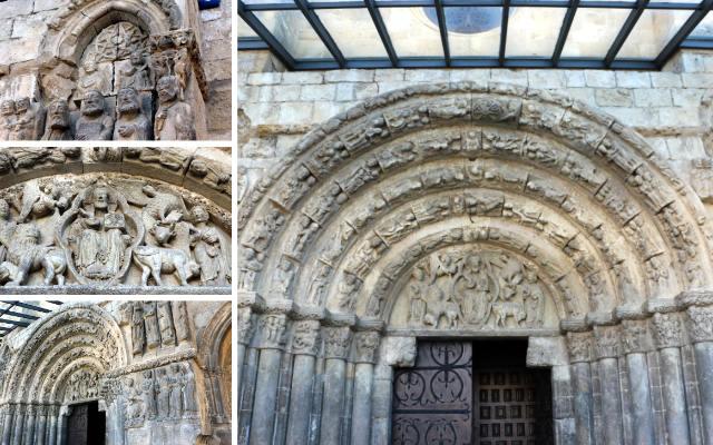 Detalles del pórtico de la Iglesia de San Miguel de Estella - Destino y Sabor