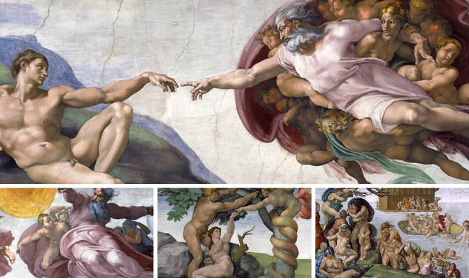 Piezas centrales de la Bóveda de la Capilla Sixtina - Composición de Destino y Sabor
