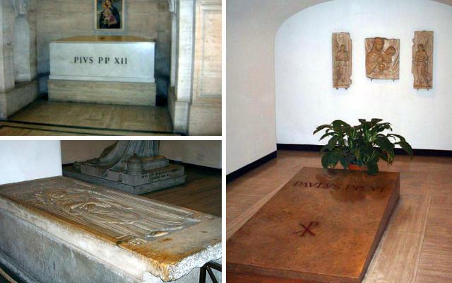 Tumbas de algunos Papas en la cripta del Vaticano - Composición de Destino y Sabor
