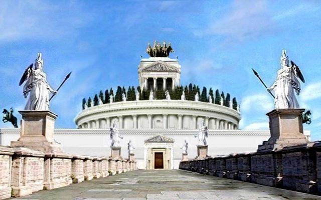 Mole Adrianorum, simulación de cómo debio ser el castillo - Imagen Wikipedia