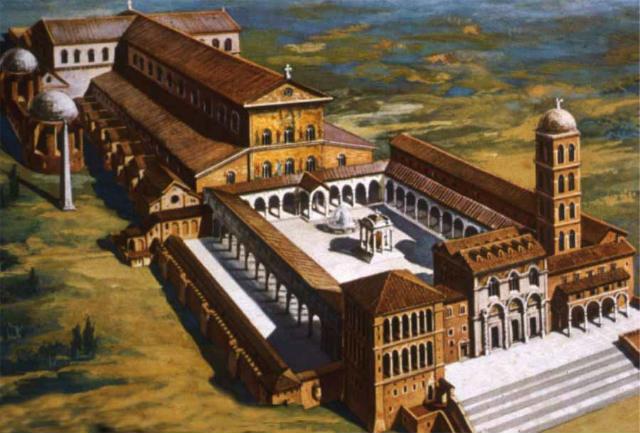Reconstrucción del la Basílica Constantiniana del Vaticano - Imagen ArteHistoria