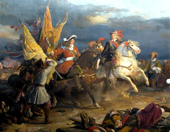 Felipe V victorioso en la batalla de Brihuega