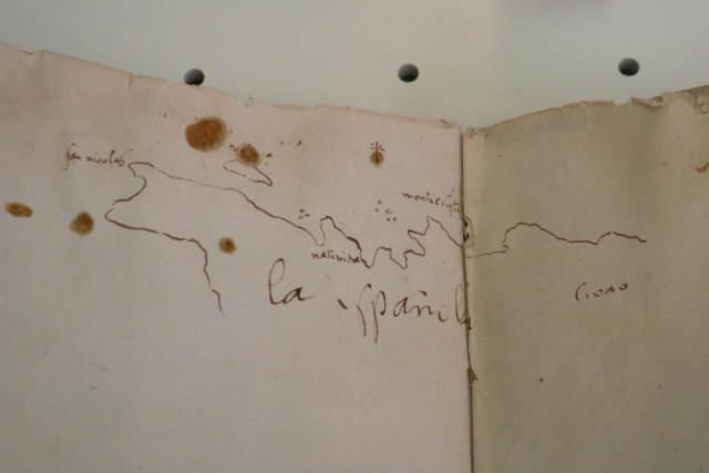 Plano manuscrito de la isla de la Española por colón - Destino y Sabor