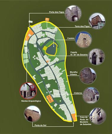 Mapa arqueológico de los restos del Barrio del Castillo de Lamego