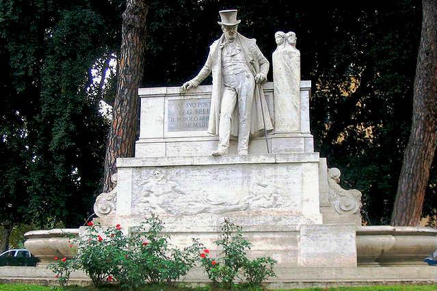Monumento a Giochino Belli a la entrada del rione del Trastevere - Imagen Wikipedia
