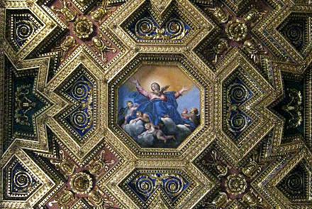 Artesonado con la Ascensión de María - Imagen de Roma Art Lover