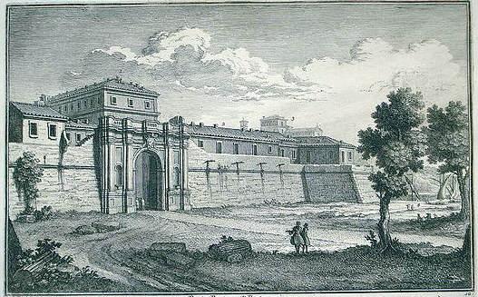 Grabado de Roma representando la muralla y la puerta de Porta Portese