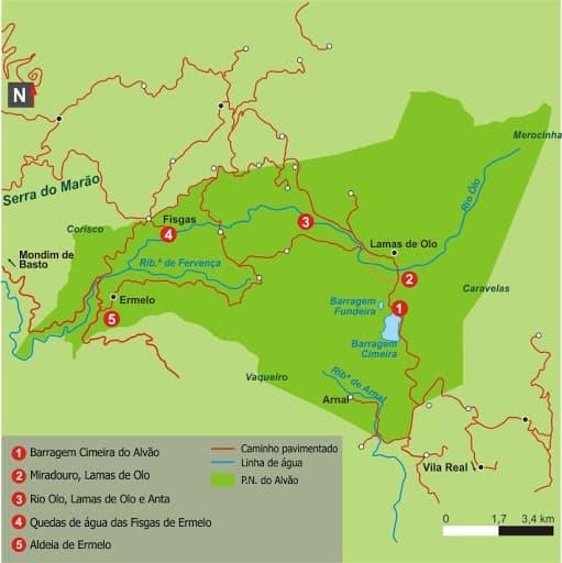 Mapa del Parque Natural de Alvão
