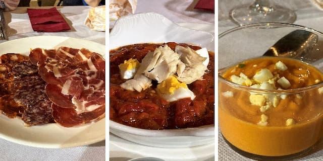 Entrantes del menú de La Antigua bodega Los Llanos de Valdepeñas - Destino y Sabor